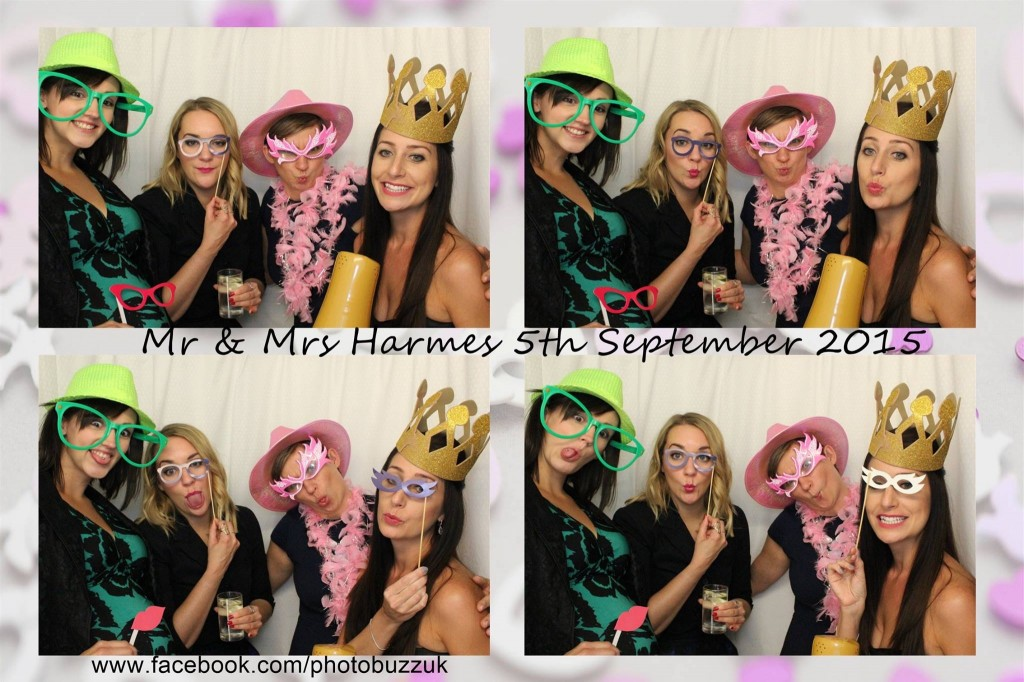 Photo Booth picture with wedding hearts background